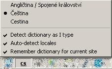 Nabídka Dictionary Switcheru