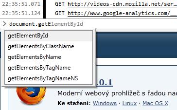 Doplňování syntaxe webové konzole Firefoxu 6