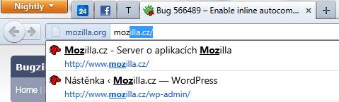 Našeptávání v adresním řádku Firefoxu 6