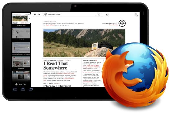 Ukázka Firefoxu pro tablety