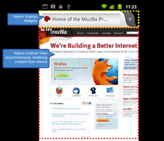 Ukázka nativního rozhraní mobilního Firefoxu
