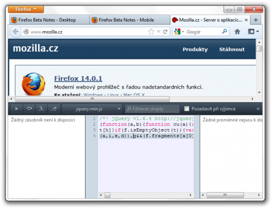 Debugger JavaScriptu ve Firefoxu
