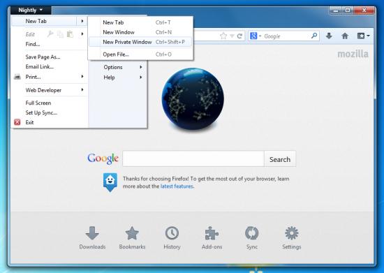 Anonymní řežim Firefoxu v samostatném okně