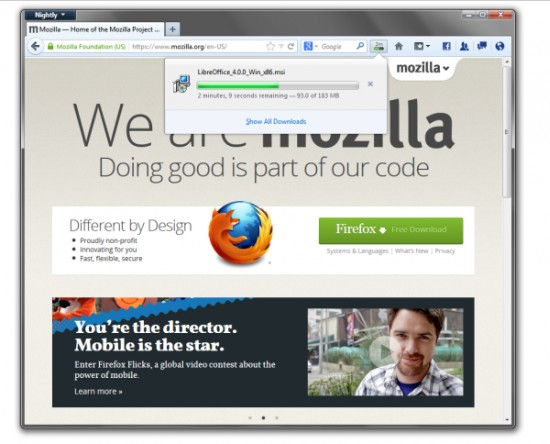 Nový Správce stahování Firefoxu