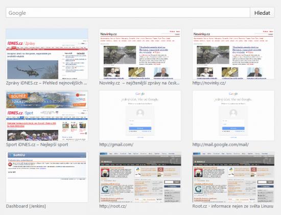 Vyhledávání na novém panelu Firefoxu