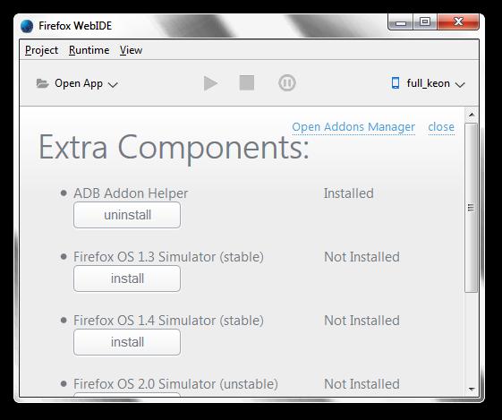 Volba simulátoru ve Firefox WebIDE