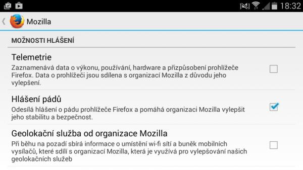 Nastavení Firefoxu pro Android